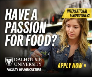 """Advertisement from Dalhousie University asking if you """"Have a passion for food?"""" because you might want to apply to Dal's International Food Business Program"""